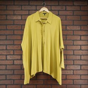 EILEEN FISHER 100% Silk Chartreuse Tunic Blouse XL